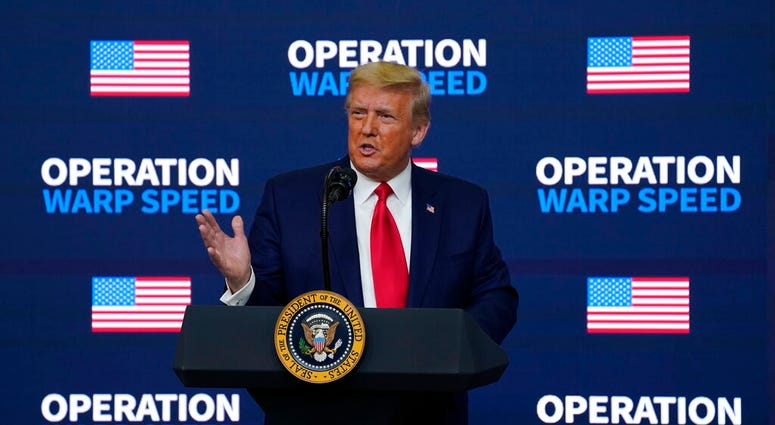 """President Donald Trump speaks during an """"Operation Warp Speed Vaccine Summit"""" on the White House complex, Tuesday, Dec. 8, 2020, in Washington. (AP Photo/Evan Vucci)"""