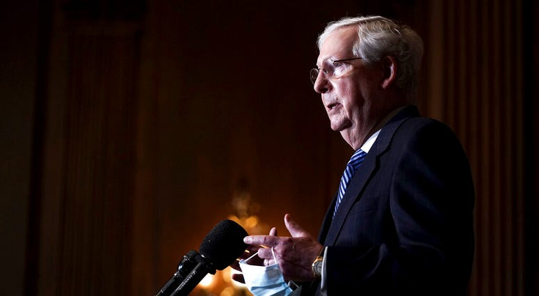 Senate Majority Leader Mitch McConnell of Kentucky talks during a news conference Tuesday, Dec. 8, 2020, on Capitol Hill in Washington. (Greg Nash/Pool via AP)