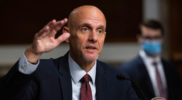In this Sept. 23, 2020, file photo, Dr. Stephen Hahn, commissioner of the U.S. Food and Drug Administration, testifies. (Graeme Jennings/Pool via AP, File)