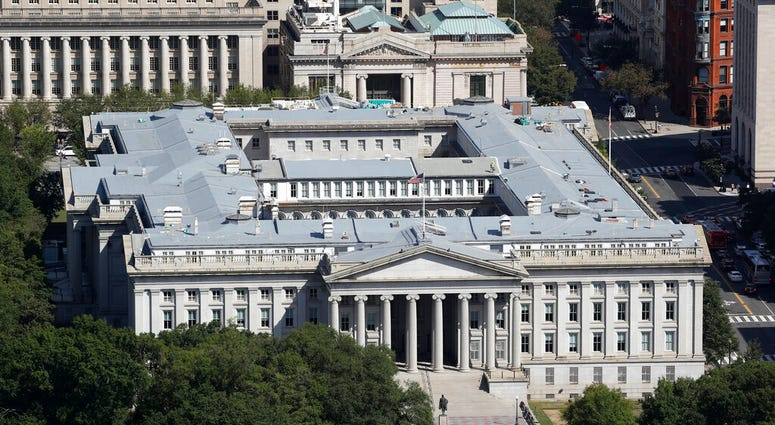 FILE - The U.S. Treasury Department building viewed from the Washington Monument, Wednesday, Sept. 18, 2019, in Washington.