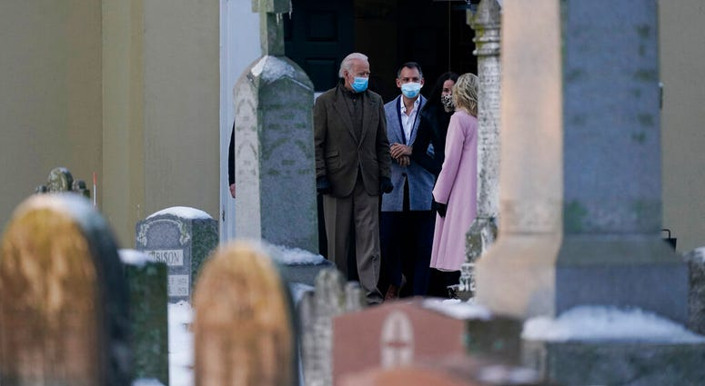 President-elect Joe Biden and his wife Jill Biden pause to talk with Ashley Biden and her husband Howard Krein as they walk from St. Joseph on the Brandywine Roman Catholic Church in Wilmington, Del., Friday, Dec. 18, 2020.