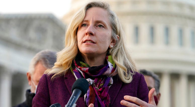 Rep. Abigail Spanberger, D-Va., speaks during a news conference with the Problem Solvers Caucus about the expected passage of the emergency COVID-19 relief bill, Monday, Dec. 21, 2020, on Capitol Hill in Washington. (AP Photo/Jacquelyn Martin)