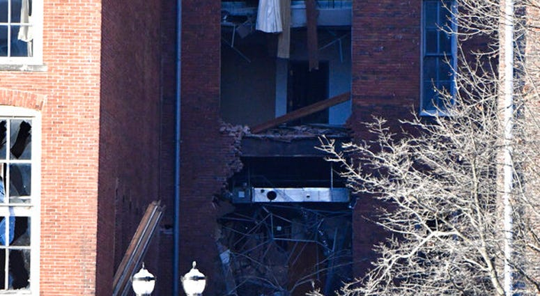 A building is damaged near the area where an explosion was reported on Friday, Dec. 25, 2020 in Nashville, Tenn. Buildings shook in the immediate area and beyond after a loud boom was heard early Christmas morning.