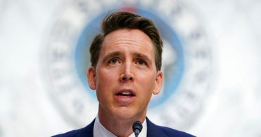 In this Oct. 12, 2020, file photo Sen. Josh Hawley, R-Mo., speaks during a confirmation hearing for Supreme Court nominee Amy Coney Barrett. (AP Photo/Susan Walsh, Pool, File)