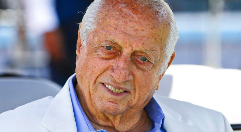 FILE - In this April 11, 2018, file photo, former Los Angeles Dodgers manager Tommy Lasorda attends a news conference in Los Angeles.