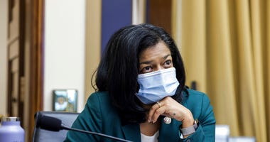 In this July 29, 2020 file photo, Rep. Pramila Jayapal, D-Wash., speaks during a House Judiciary subcommittee on antitrust on Capitol Hill in Washington. (Graeme Jennings/Pool via AP)
