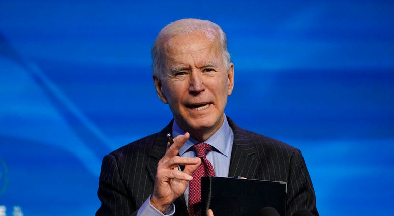 In this Jan. 8, 2021, file photo, President-elect Joe Biden speaks during an event at The Queen theater in Wilmington, Del. (AP Photo/Susan Walsh)
