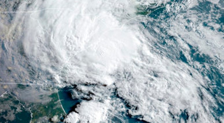 This GOES-16 satellite image taken Wednesday, May 27, 2020, at 11:40 UTC and provided by THE National Oceanic and Atmospheric Administration (NOAA), shows Tropical Storm Bertha approaching the South Carolina coast. (NOAA via AP)