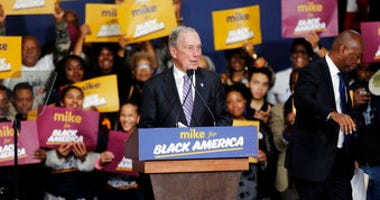 Democratic presidential candidate and former New York City Mayor Michael Bloomberg speaks during a campaign rally at the Buffalo Soldier Museum in Houston, Thursday, Feb. 13, 2020. (Elizabeth Conley/Houston Chronicle via AP)