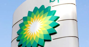FILE - This Tuesday, Aug. 1, 2017 file photo shows the BP logo at a petrol station in London. (AP Photo/Caroline Spiezio, File)
