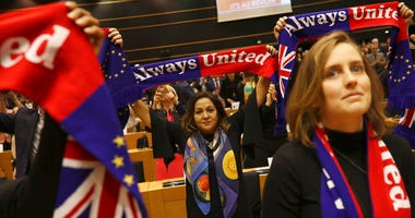 The U.K. is due to leave the EU on Friday, Jan. 31, 2020, the first nation in the bloc to do so. (AP Photo/Francisco Seco)