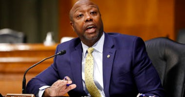 FILE - In this May 7, 2020, file photo, Sen. Tim Scott, R-S.C., speaks during a Senate Health Education Labor and Pensions Committee hearing on new coronavirus tests on Capitol Hill in Washington. (AP Photo/Andrew Harnik, Pool, File)