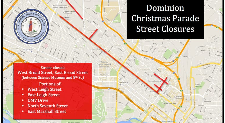 Many roads will be closed for Saturday's Dominion Energy Christmas Parade. (Map image from Richmond Police)