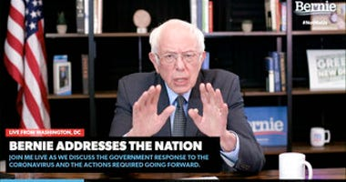 In this image from video provided by BernieSanders.com, Democratic presidential candidate Sen. Bernie Sanders, I-Vt., speaks from Washington, Tuesday, March 17, 2020. (BernieSanders.com via AP)