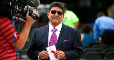 FILE - In this Aug. 8, 2015, file photo former owner of the San Francisco 49ers Edward DeBartolo, Jr., is interviewed before the Pro Football Hall of Fame ceremony at Tom Benson Hall of Fame Stadium in Canton, Ohio. (AP Photo/Gene J. Puskar, File)