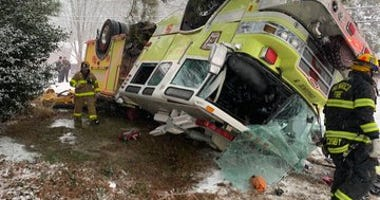 Henrico Fire Truck flips on snowy Woodman Road. (Henrico Fire)