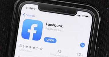 FILE - In this July 30, 2019, file photo, the social media application, Facebook is displayed on Apple's App Store in Chicago, Ill. (AP Photo/Amr Alfiky, File)