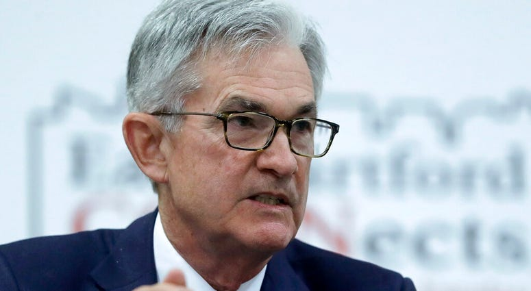 FILE - In this Nov. 25, 2019, file photo Federal Reserve Board Chair Jerome Powell addresses a round table discussion. (AP Photo/Steven Senne)