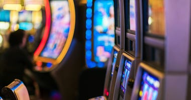 Slot Machines Inside Luxury Vegas Casino.