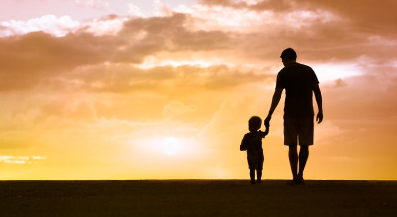 Father and son walking at sunset