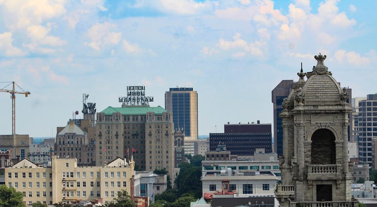 Skyline view of downtown Richmond Virginia from a rooftop patio