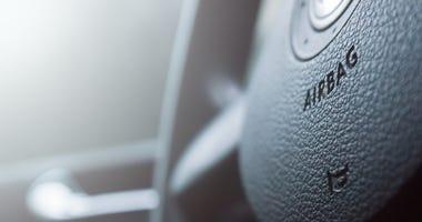 Airbag insignia on car steering wheel