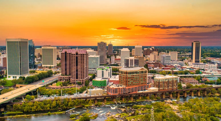 Richmond, Virginia, USA Drone Skyline Aerial at Sunset