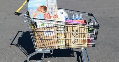 Shopping cart full of groceries