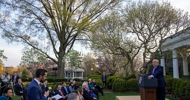 President Trump Holds Daily Coronavirus Task Force Briefing In Rose Garden