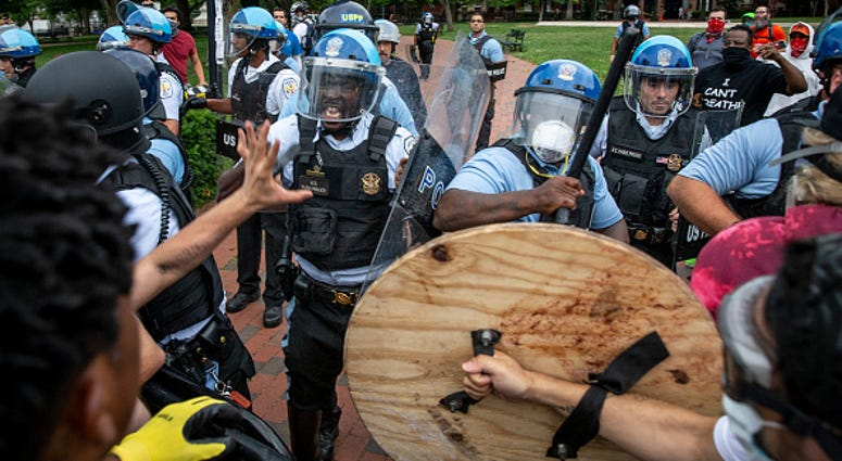 Protesters clash with Police Washington DC