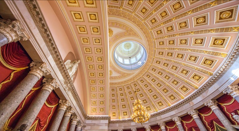 Statuary Hall and ceiling in the Capitol - Washington, DC