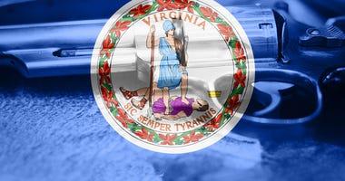 Virginia flag (U.S. state) Gun Control USA.