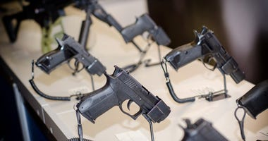 Hand guns on display