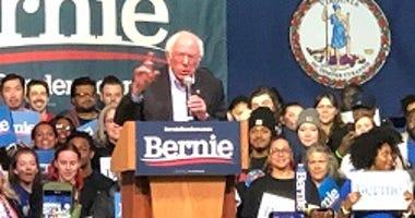 Senator Bernie Sanders (I-VT) speaks at the Arthur Ashe Center on February 27, 2020. (Matt Demlein, WRVA)