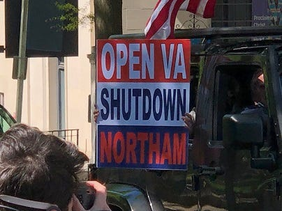 Protestors wanting to reopen Virginia circle the State Capitol on April 22, 2020. (Matt Demlein, WRVA)