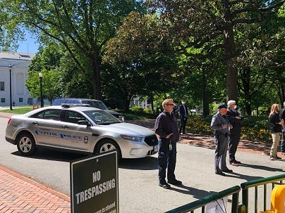 Law Enforcement at a closed State Capitol on April 22, 2020. (Matt Demlein, WRVA)