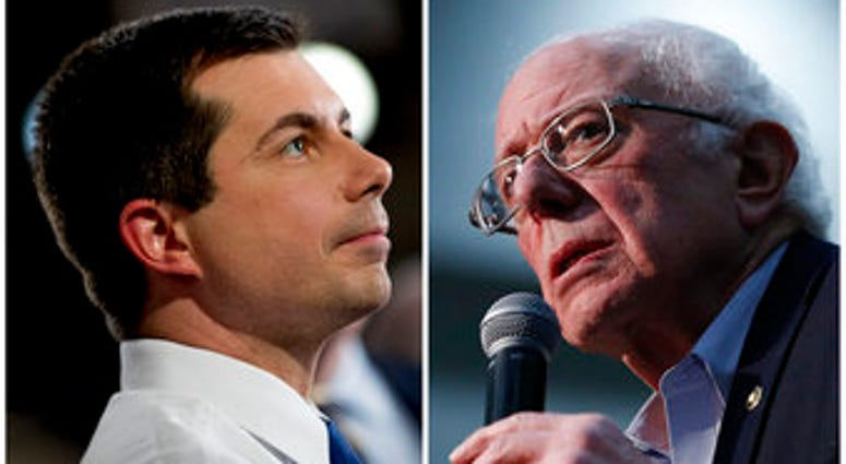 After a daylong delay, partial results from Iowa's Democratic caucuses showed Buttigieg and Sanders ahead of the pack. (AP Photo)