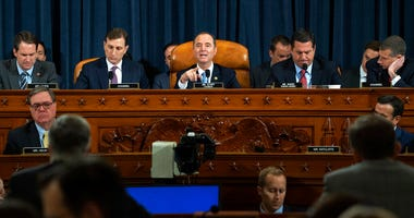House Judiciary Committee Chairman Rep. Jerrold Nadler, D-N.Y., center, with members of the committee, speaking during a hearing before the House Judiciary Committee on the constitutional grounds for the impeachment of President Donald Trump.