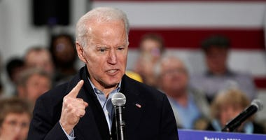 Democratic presidential candidate and former Vice President Joe Biden gestures as he speaks during a campaign stop in Council Bluffs, Iowa, Wednesday, Jan. 29, 2020. (AP Photo/Nati Harnik)