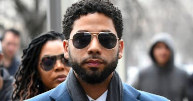 FILE - In this March 14, 2019, file photo, Empire actor Jussie Smollett arrives at the Leighton Criminal Court Building for his hearing in Chicago.  (AP Photo/Matt Marton, File)