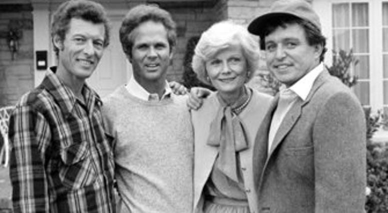 """FILE - This Dec. 10, 1982 file photo shows members of the original cast of the """"Leave It To Beaver,"""" from left, Ken Osmond, Tony Dow, Barbara Billingsley and Jerry Mathers. (AP Photo/Wally Fong, File)"""