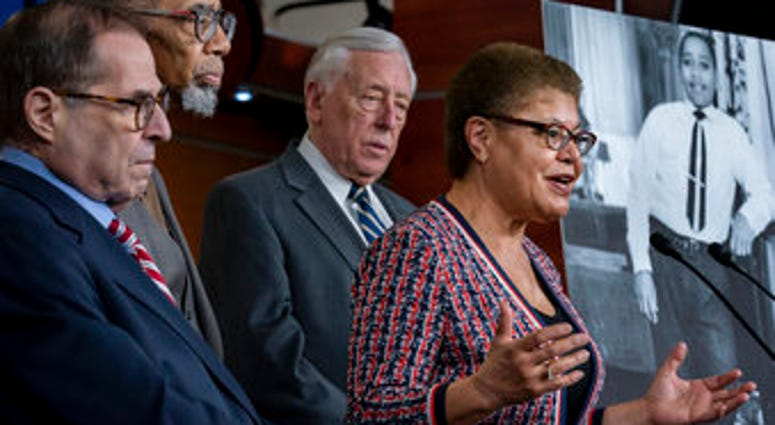 From left, House Judiciary Committee Chairman Jerrold Nadler, D-N.Y., Rep. Bobby Rush, D-Ill., House Majority Leader Steny Hoyer, D-Md., and Rep. Karen Bass, D-Calif., chair of the Congressional Black Caucus. (AP Photo/J. Scott Applewhite)