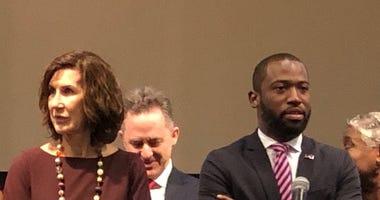 Leslie Haley of the Chesterfield County Board of Supervisors and Richmond Mayor Levar Stoney prepare to discuss coronavirus on Friday, March 13, 2020. (Matt Demlein/News Radio WRVA)