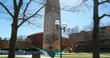 FILE - This April 7, 2017 file photo, shows Burton Tower on the University of Michigan campus in Ann Arbor, Mich. (Hunter Dyke/Ann Arbor News via AP, File)