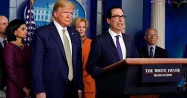 Treasury Secretary Steven Mnuchin speaks during a press briefing with the coronavirus task force, at the White House, Tuesday, March 17, 2020, in Washington, as President Trump looks on. (AP Photo/Evan Vucci)