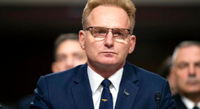 FILE - In this Dec. 3, 2019, file photo, acting Navy Secretary Thomas Modly testifies during a hearing of the Senate Armed Services Committee about about ongoing reports of substandard housing conditions in Washington. (AP Photo/Alex Brandon, File)