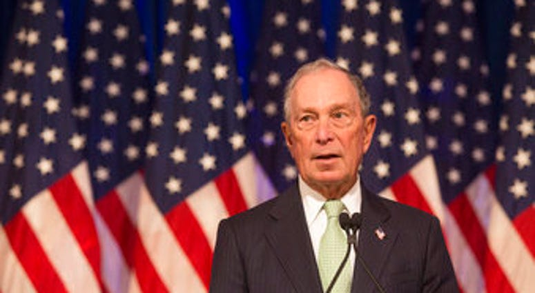 Democratic Presidential candidate, Michael Bloomberg during remarks to the media at the Hilton Hotel on his first campaign stop in Norfolk, Va. Monday, Nov. 25, 2019. (AP Photo/Bill Tiernan)