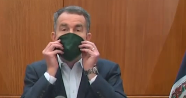 Governor Ralph Northam displays mask use during a briefing on coronavirus on April 6, 2020. (Governor's Facebook Page)