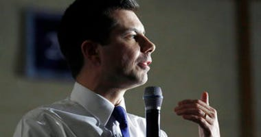 Democratic presidential candidate former South Bend, Ind. Mayor Pete Buttigieg speaks at a campaign event, Monday, Feb. 10, 2020, in Exeter, N.H. (AP Photo/Elise Amendola)