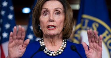 FILE - In this Feb. 6, 2020, file photo, Speaker of the House Nancy Pelosi, D-Calif., talks during a news conference at the Capitol in Washington.  (AP Photo/J. Scott Applewhite, File)